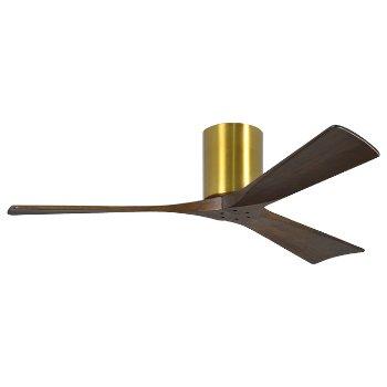Shown in Brushed Brass finish, Walnut blades, 52 Inch