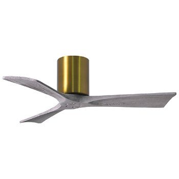 Shown in Brushed Brass finish, Barn Wood blades finish, 42 Inch