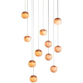 Shown in Copper finish, White glass, lit