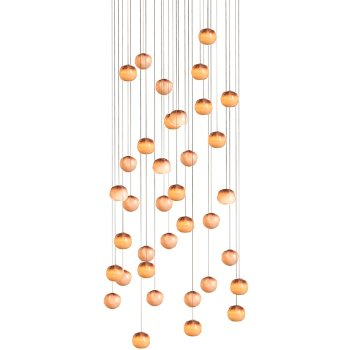 Shown in Copper finish, White glass, lit