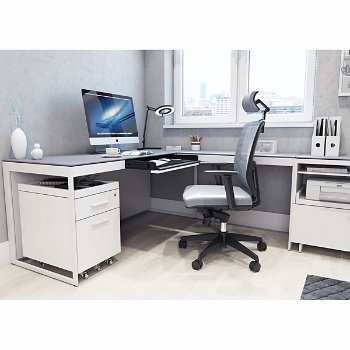Centro Desk with Centro Multifunctional Cabinet and Centro Mobile File Pedestal