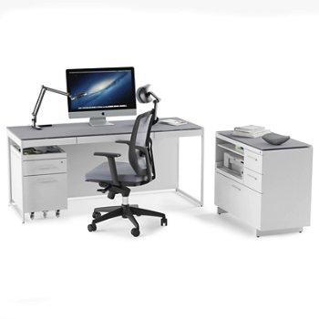 Centro Multi-Function Cabinet 6417 with Centro Mobile File Pedestal and Centro Desk