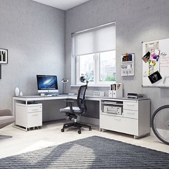 Centro Multi-Function Cabinet 6417 with Centro 3-Drawer File Cabinet and Centro Return