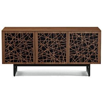 Shown in Natural Walnut finish, Triple-Width size, Ricochet Doors Pattern / Design, Media Base option