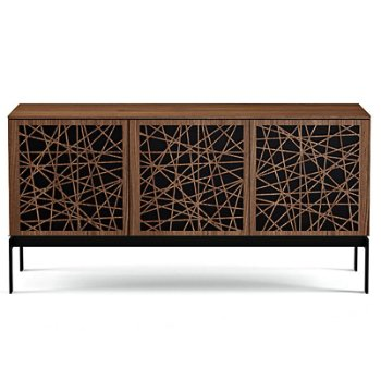 Shown in Natural Walnut finish, Triple-Width size, Ricochet Doors Pattern / Design, Console Base option