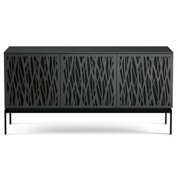 Shown in Charcoal Stained Ash finish, Triple-Width size, Wheat-Doors Pattern / Design, Console Base option