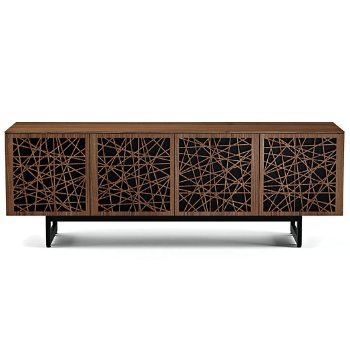Shown in Natural Walnut finish, Quad-Width size, Ricochet Doors Pattern / Design, Media Base option
