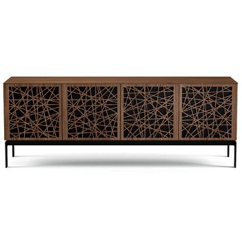 Shown in Natural Walnut finish, Quad-Width size, Ricochet Doors Pattern / Design, Console Base option