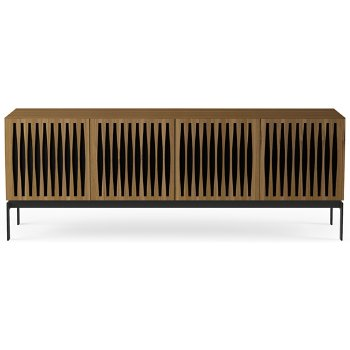Shown in Natural Walnut finish, Quad-Width size,  Tempo Doors Pattern / Design, Console Base option