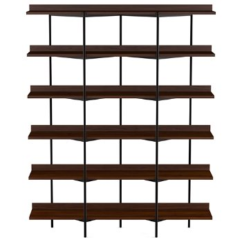 Shown in Charcoal Stained Ash Shelves / Black Frame finish, 6 Tier
