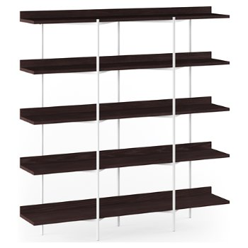 Shown in Charcoal Stained Ash Shelves / White Frame finish, 5 Tier