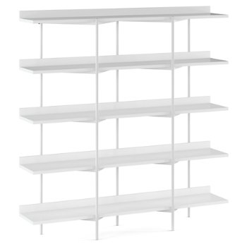 Shown in Satin White Shelves / Satin White Frame finish, 5 Tier