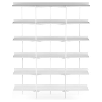 Shown in Satin White Shelves / Satin White Frame finish, 6 Tier