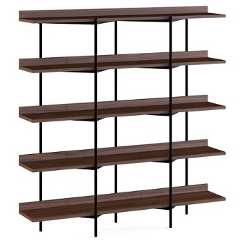 Shown in Toasted Walnut Shelves / Black Frame finish, 5 Tier