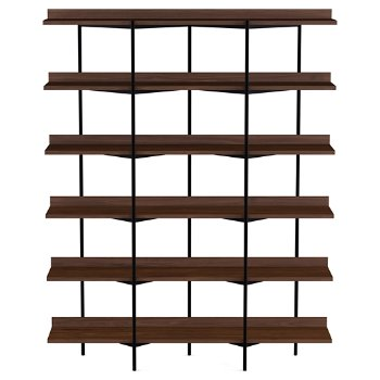 Shown in Toasted Walnut Shelves / Black Frame finish, 6 Tier