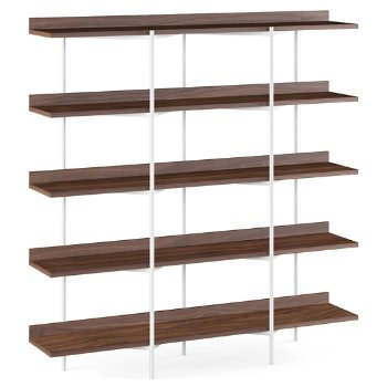 Shown in Toasted Walnut Shelves / Satin White finish, 5 Tier