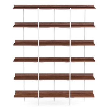Shown in Toasted Walnut Shelves / Satin White finish, 6 Tier