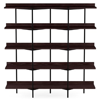 Shown in Charcoal Stained Ash Shelves / Black Frame finish, 5 Tier