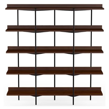 Shown in Chocolate Stained Walnut Shelves / Black Frame finish, 5 Tier