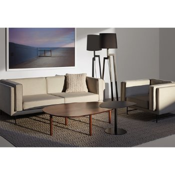 Swole Large Coffee Table with Bank 80-Inch Sofa, Stilt Floor Lamp, Swole Small Side Table, Bank Lounge Chair and Gam Gam Pillow