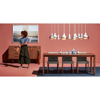 Trace 4 Pendant Light with Trace 3 Pendant Light, Trace 2 Pendant Light, Shale 4 Drawer/1 Door Credenza and Second Best Wood Dining Table