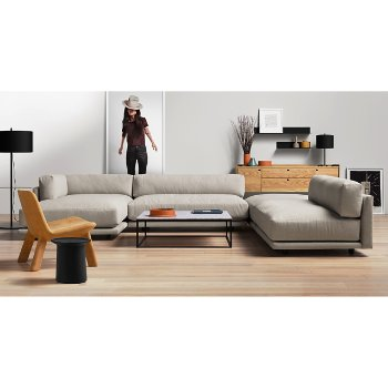 Sunday J Sectional Sofa with Coco Side Table, Minimalista Coffee Table, Flange Decorative Bowl, Peek 2 Door, 2 Drawer Console, Flange Decorative Vessel and Neat Leather Lounge Chair