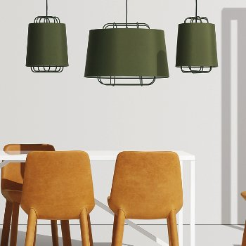 Perimeter Large Pendant Light with Neat Leather Dining Chair, Perimeter Small Pendant Light and Strut Table