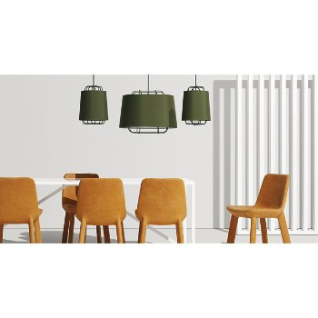 Perimeter Small Pendant Light with Neat Leather Dining Chair, Perimeter Large Pendant Light and Strut Table