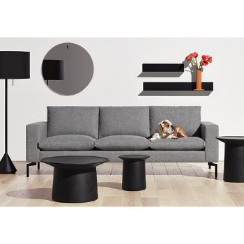 Flange Decorative Vessel with Coco Side Table, Flask Floor Lamp, Coco Coffee Table and New Standard Sofa
