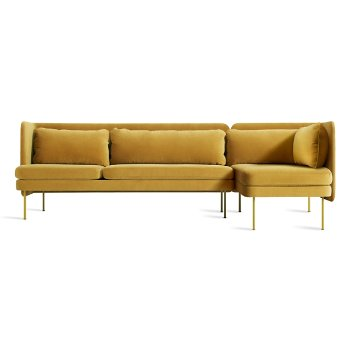 Shown in Ochre Velvet color, Chaise on Left Position