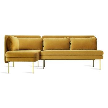 Shown in Ochre Velvet color, Chaise on Right position