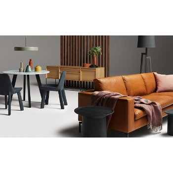 Bobber Pendant Light with Rule 2 Door 2 Drawer Console, New Standard Leather Chair, Mima Pillow, Turn Low Side Table, Turn Tall Side Table, Turn Coffee Table, New Standard Sofa and Hecks Ottoman