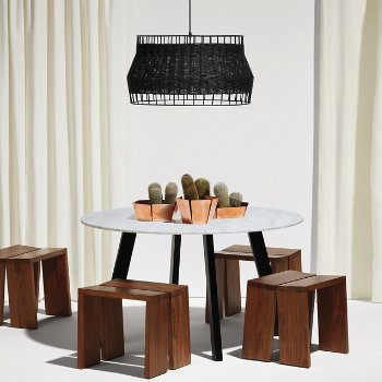 Amicable Split Bench with Laika Large Pendant, 2D:3D Small Bowl, 2D:3D Medium Bowl, 2D:3D Large Bowl and Right Round Marble Dining Table