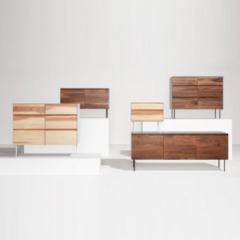 Pictured with the Clad 6 Drawer Dresser, the Clad 2 Door Credenza and the Clad 3 Door Credenza