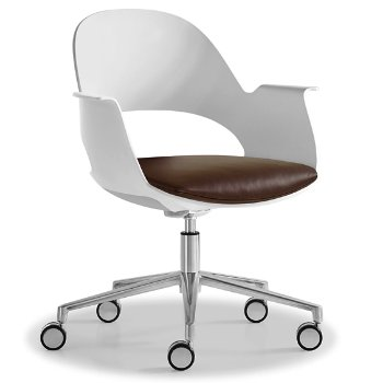 Shown in Mist / Polished Aluminum with Essential Leather / Brownstone upholstered seat