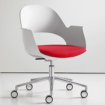 Shown in Mist / Polished Aluminum with Focus / Poppy upholstered seat
