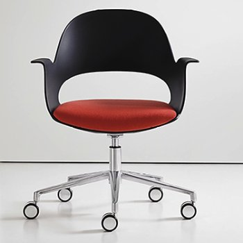 Shown in Black / Polished Aluminum with Focus / Cerise upholstered seat