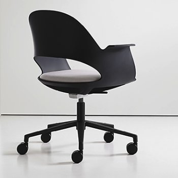 Shown in Black / Powder-coated Black with Focus / Mica upholstered seat