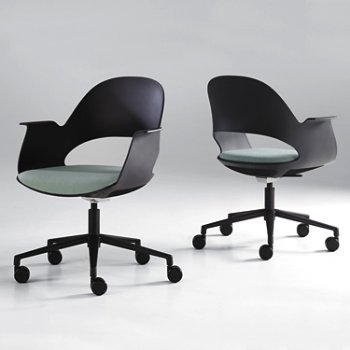 Shown in Black / Powder-coated Black with Focus / Sky upholstered seat