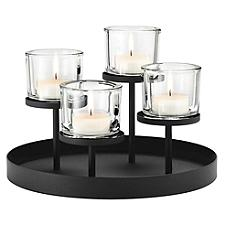 NERO Tealight Holder With Round Tray Base