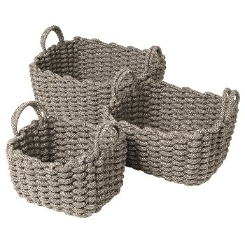 CORDA Crochet Basket Set, Light Brown