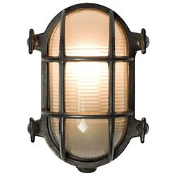 Oval Bulkhead Weathered Brass Outdoor Wall Sconce - OPEN BOX