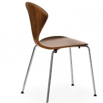 Shown in Classic Walnut Seat, Chrome Base option, Side View