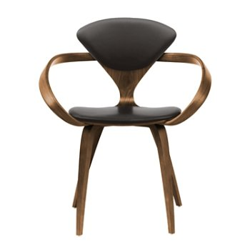 Shown in Natural Walnut Seat & Legs, Solid Walnut Arms, Vincenza Leather VZ-BLCK