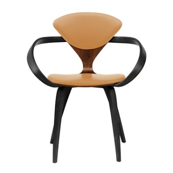 Shown in Classic Walnut Seat, Ebony Lacquer Arms & Legs, Vincenza Leather VZ-2111
