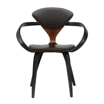 Shown in Classic Walnut Seat, Ebony Lacquer Arms & Legs, Vincenza Leather VZ-BLCK