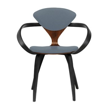 Shown in Classic Walnut Seat, Ebony Lacquer Arms & Legs, Divina 154