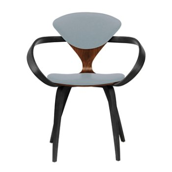 Shown in Classic Walnut Seat, Ebony Lacquer Arms & Legs, Divina 171