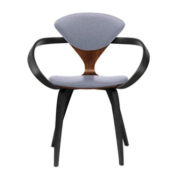 Shown in Classic Walnut Seat, Ebony Lacquer Arms & Legs, Divina 173