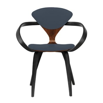 Shown in Classic Walnut Seat, Ebony Lacquer Arms & Legs, Divina 181